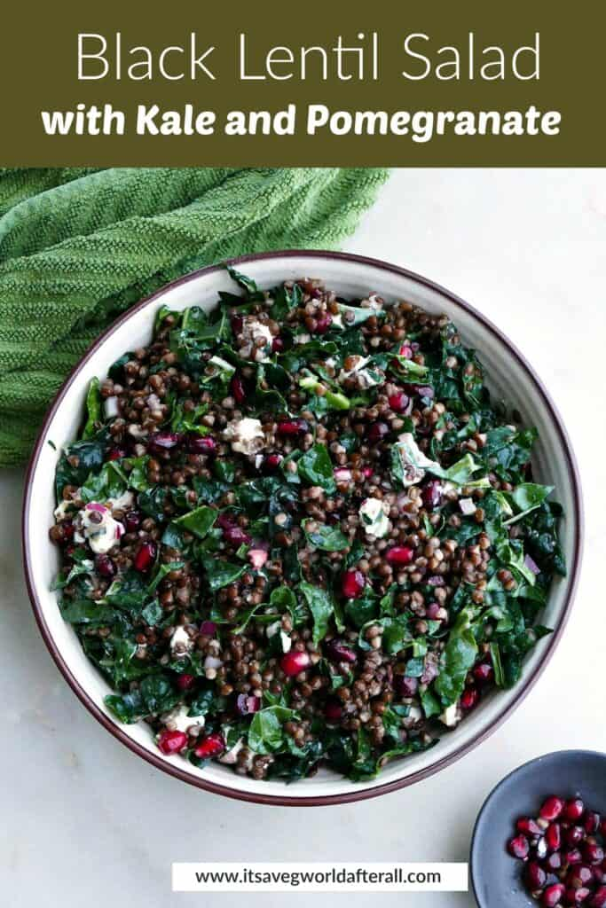 image of black lentil salad in a serving bowl under text box with recipe title
