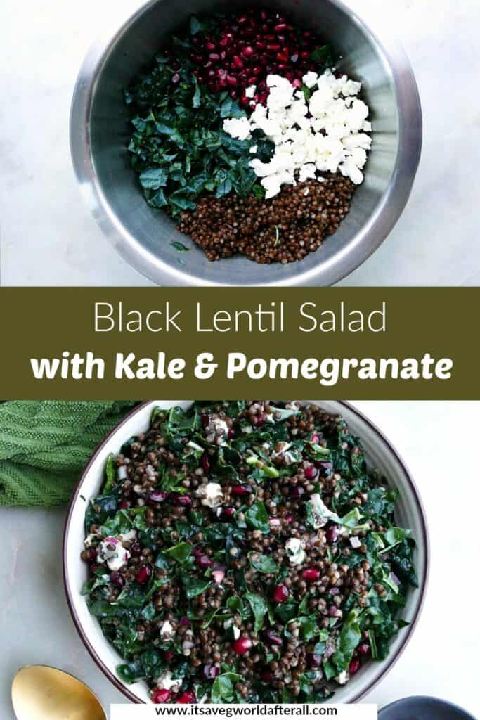 images of kale salad ingredients and finished salad separated by a text box with recipe title