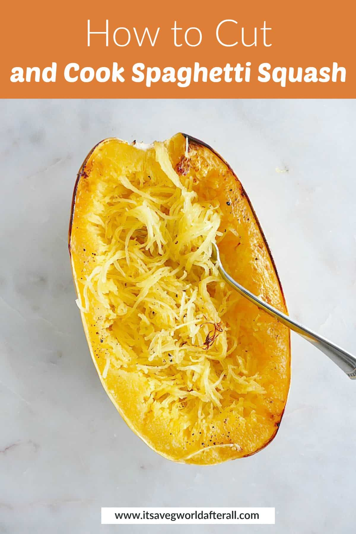 image of spaghetti squash with a fork in it under a text box with post title