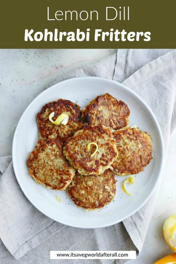 image of kohlrabi fritters on a serving plate under a text box with recipe title