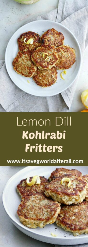 images of kohlrabi fritters separated by a green text box with recipe title