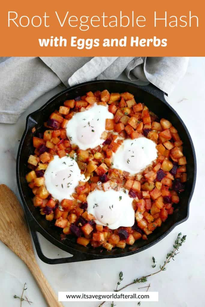 image of root vegetable hash with eggs under a text box with recipe title