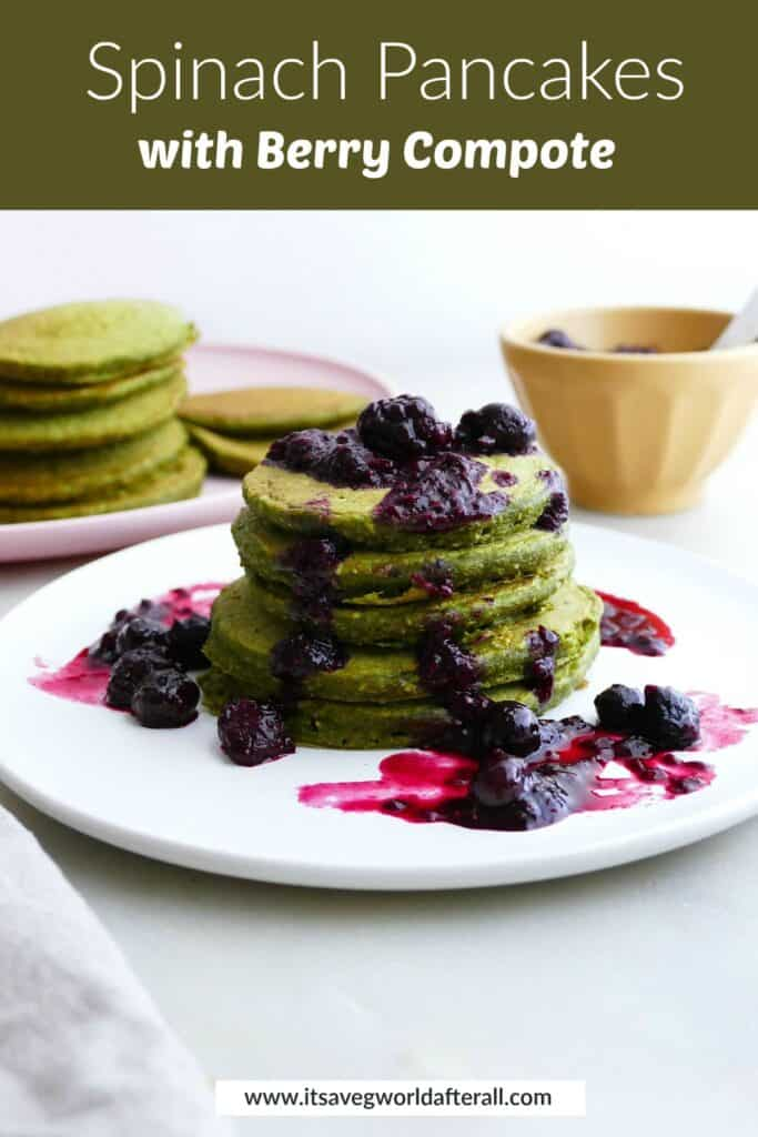 image of a stack of green pancakes and berries under a text box with recipe title