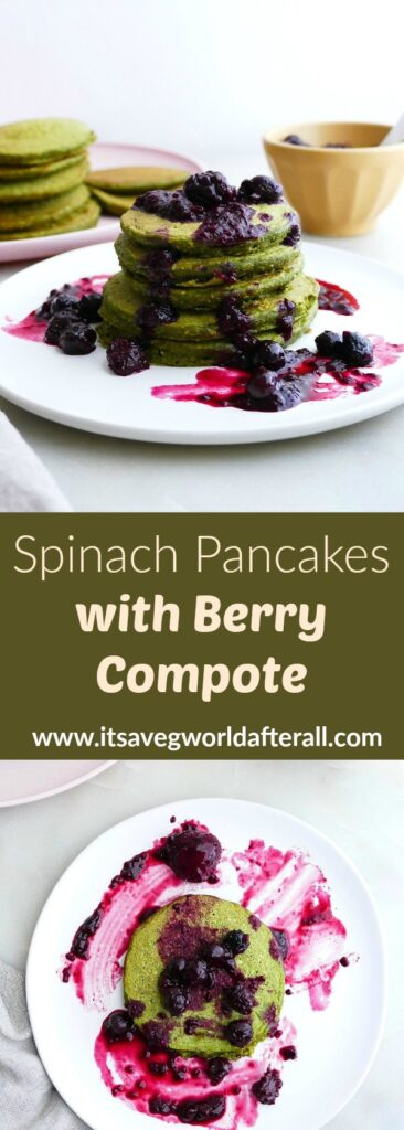 images of spinach pancakes with berries separated by a text box with recipe title