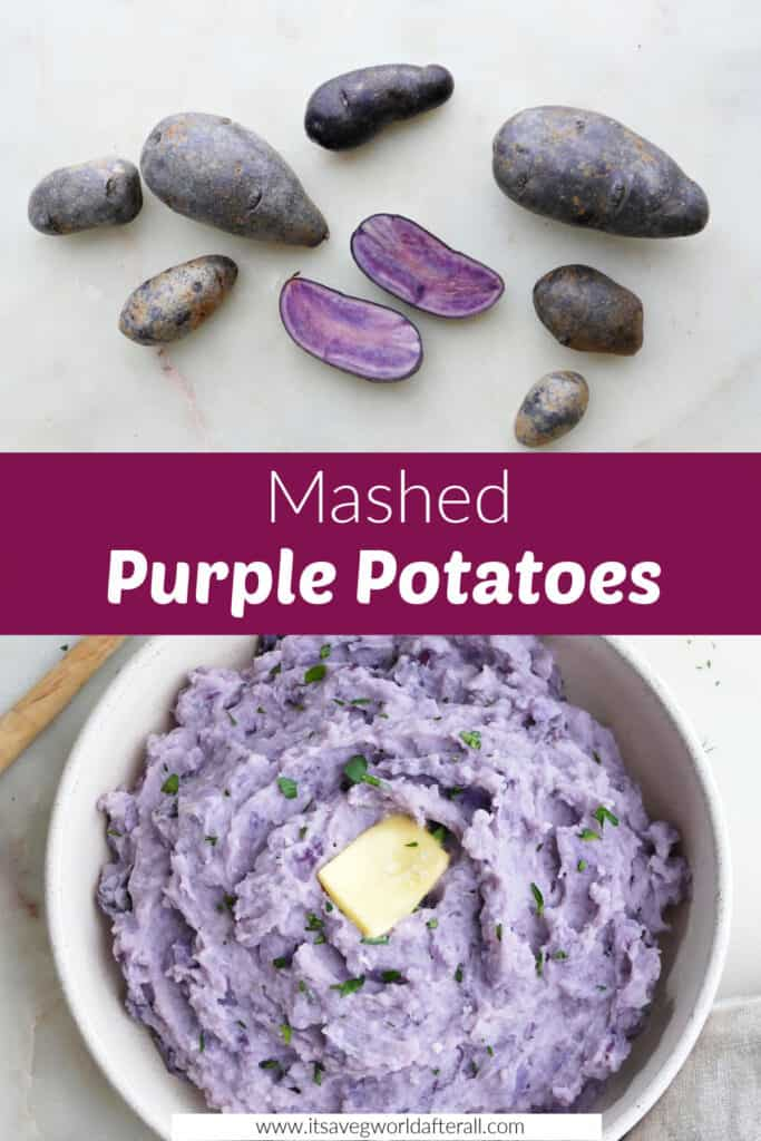 images of purple potatoes and mashed potatoes separated by text box with recipe title