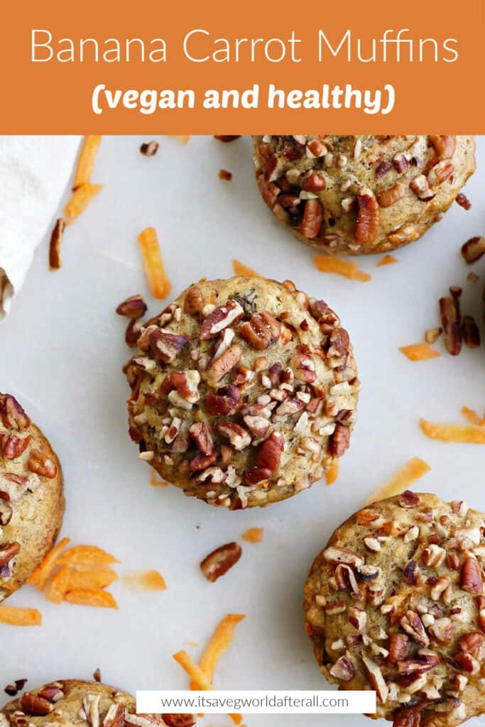 image of banana carrot muffin under a text box with recipe name