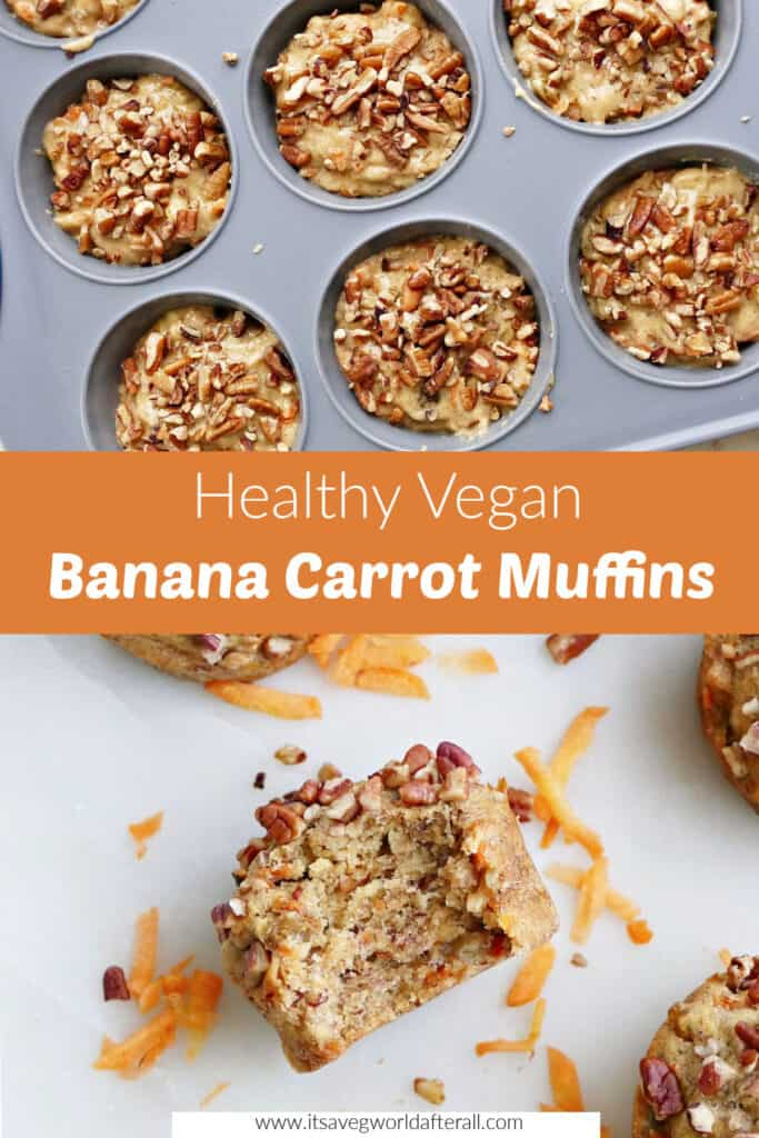 images of muffins separated by a text box with healthy vegan banana carrot muffins