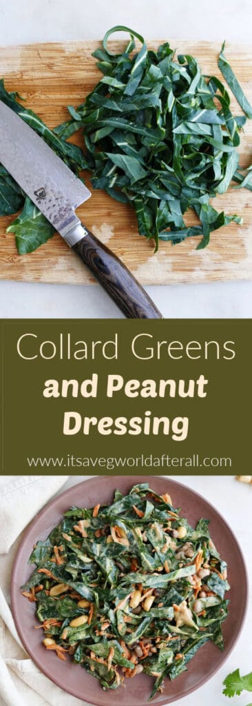 images of sliced collard greens and a salad separated by text box with recipe title