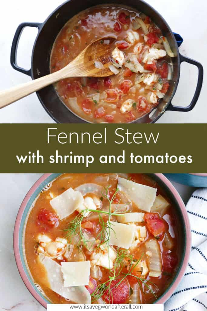 images of fennel stew cooking in a pot and a bowl of it separated by text box