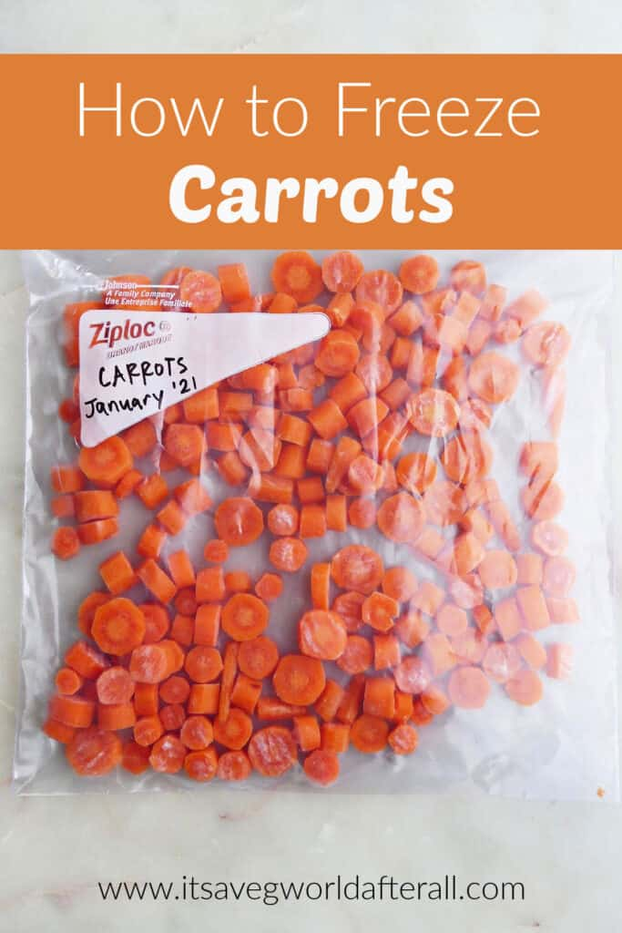 plastic bag of frozen carrots underneath the title how to freeze carrots
