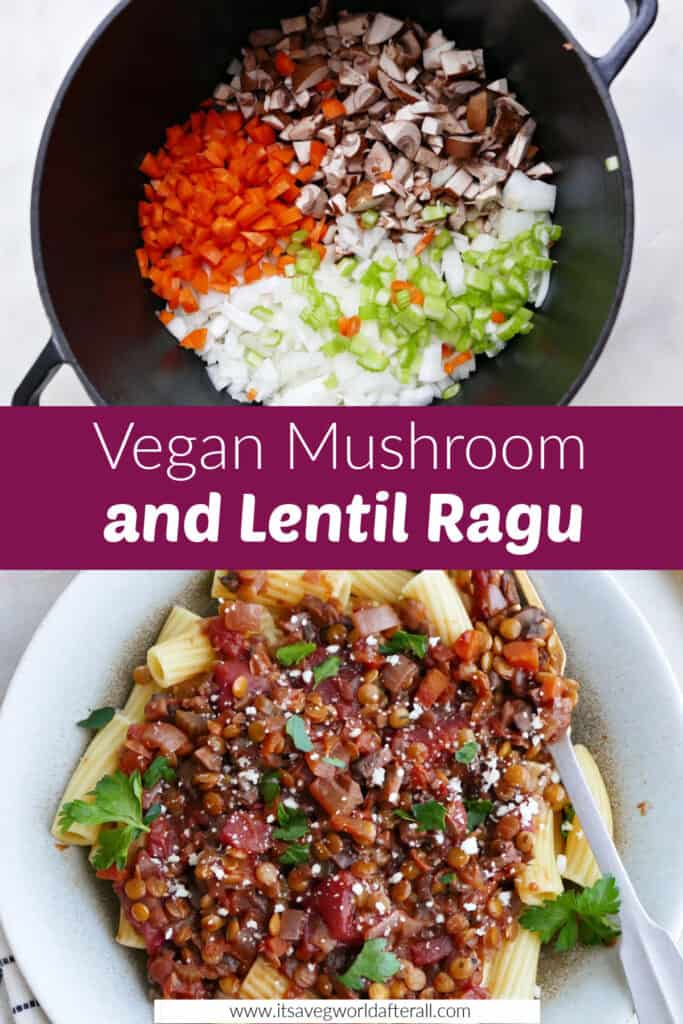images of ingredients and finished ragu over pasta separated by a text box with recipe title