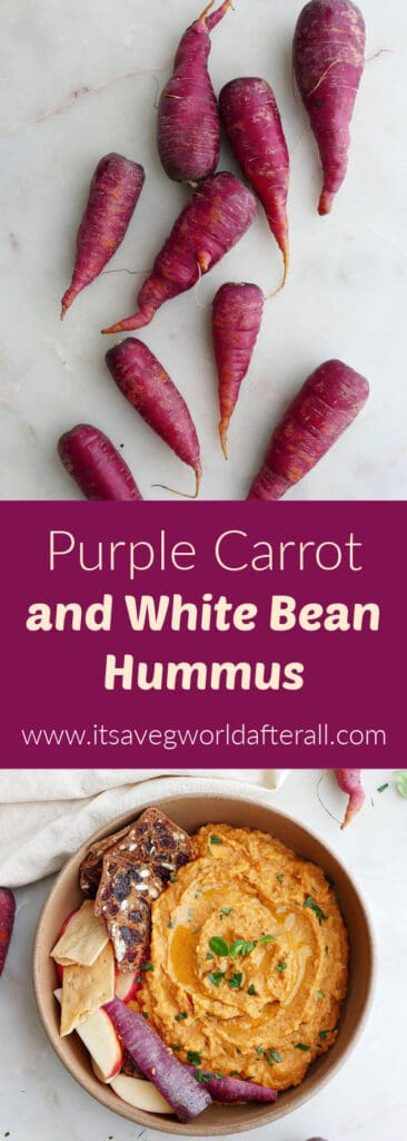 images of purple carrots and carrot hummus separated by text bow with recipe title