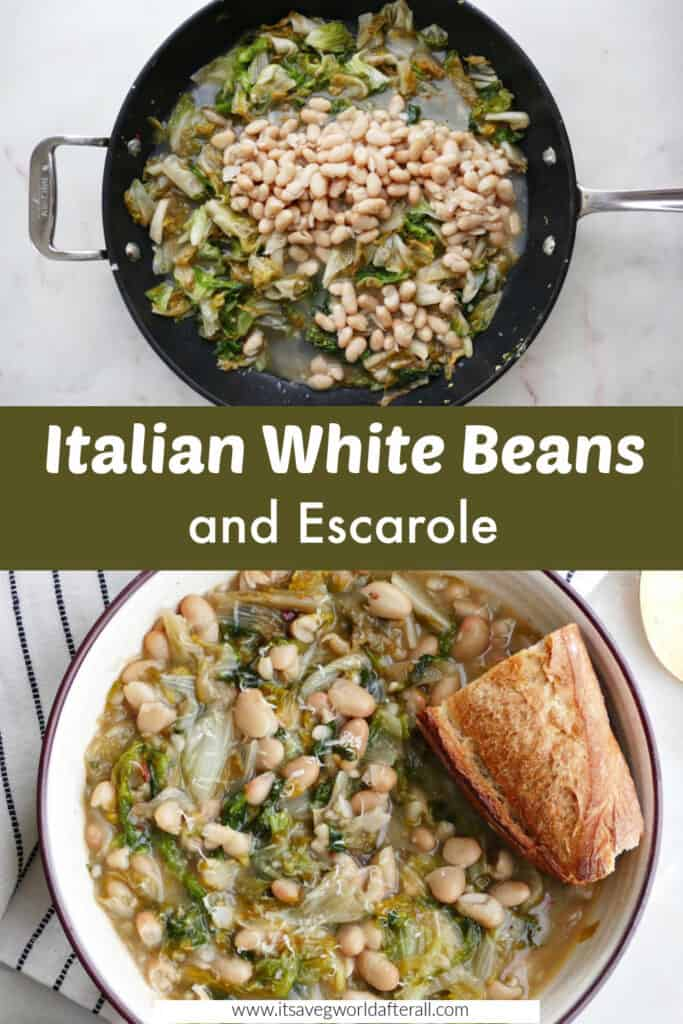 images of white beans and escarole separated by a green text box with recipe title