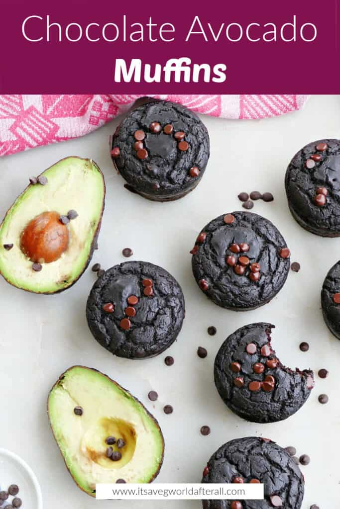 images of chocolate avocado muffins on a counter next to avocado halves under a box with recipe title