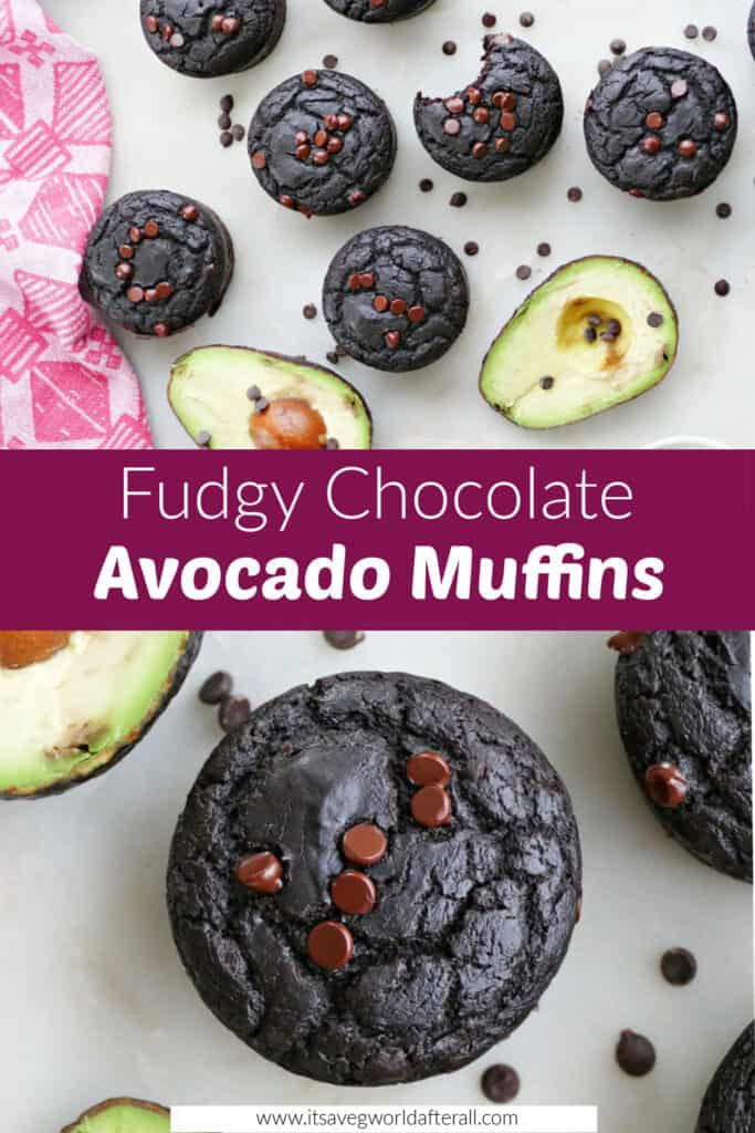 images of chocolate avocado muffins on a counter separated by text box with recipe title