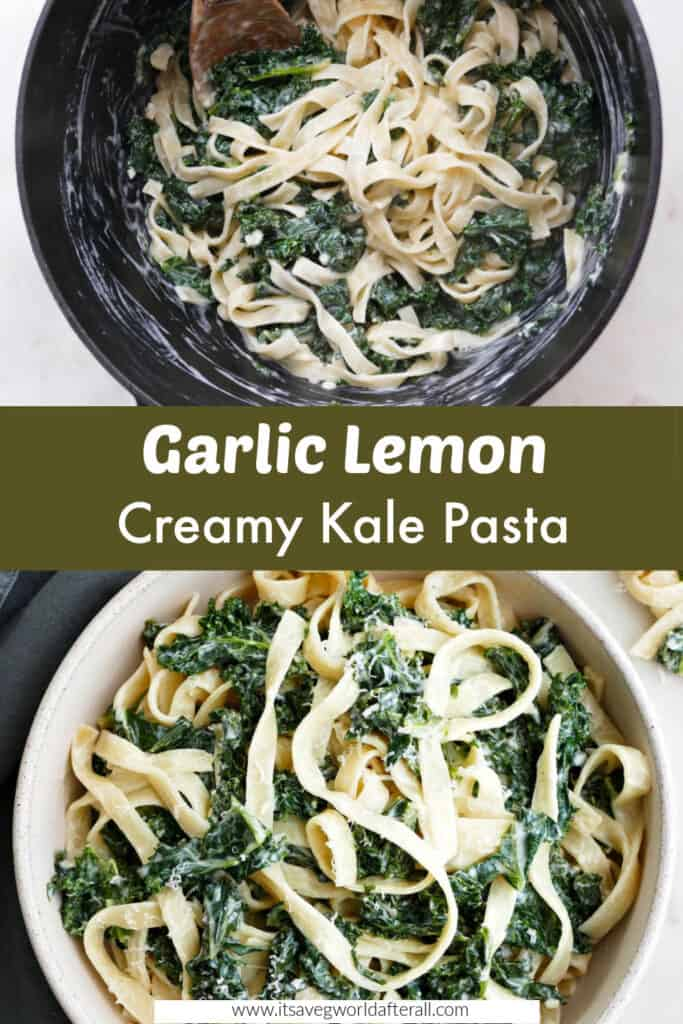 images of kale pasta in a pot and serving bowl separated by text box with recipe titlee