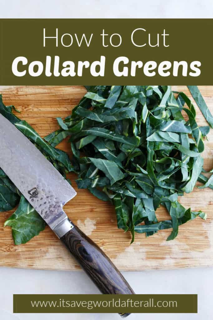 image of sliced collards on a cutting board with knife under text box with post title and website