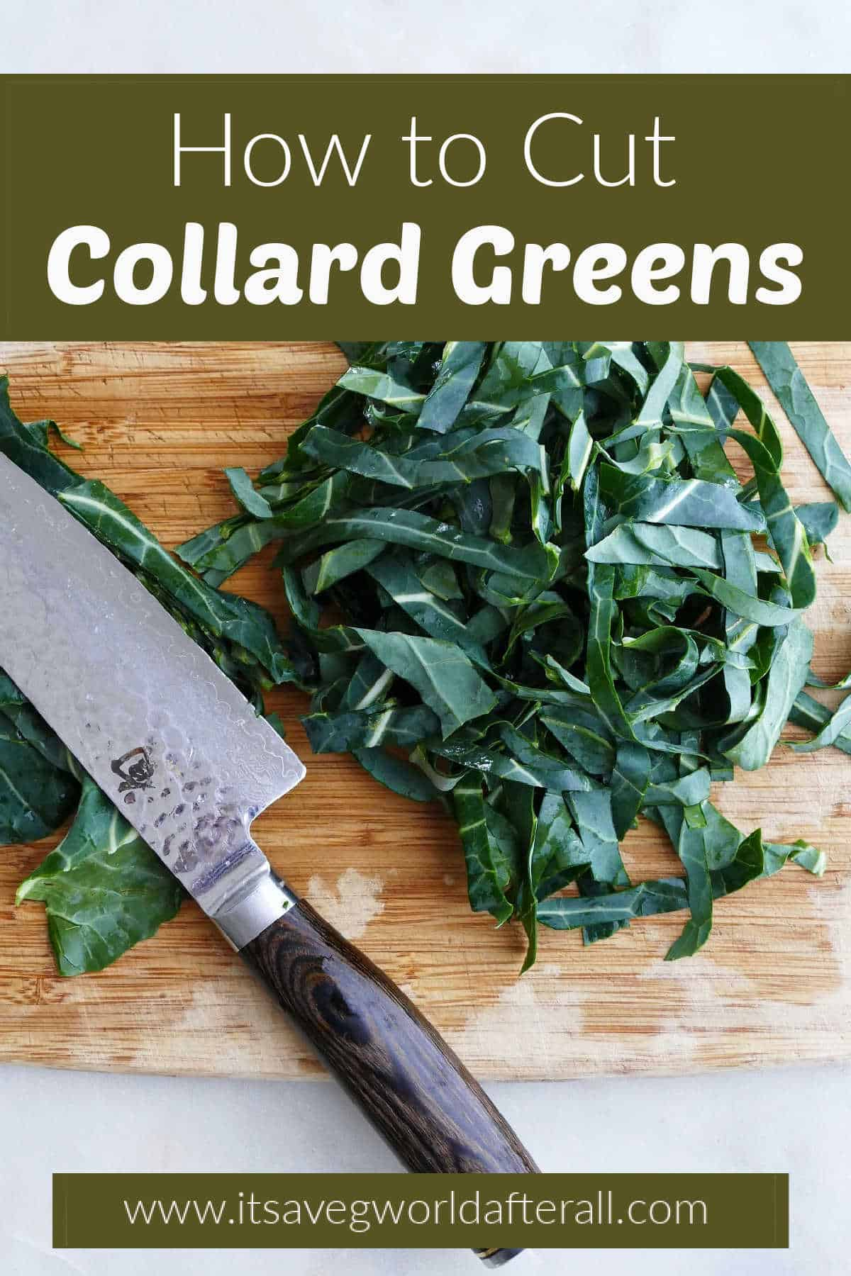 image of sliced collards on a cutting board with knife under text box with post title