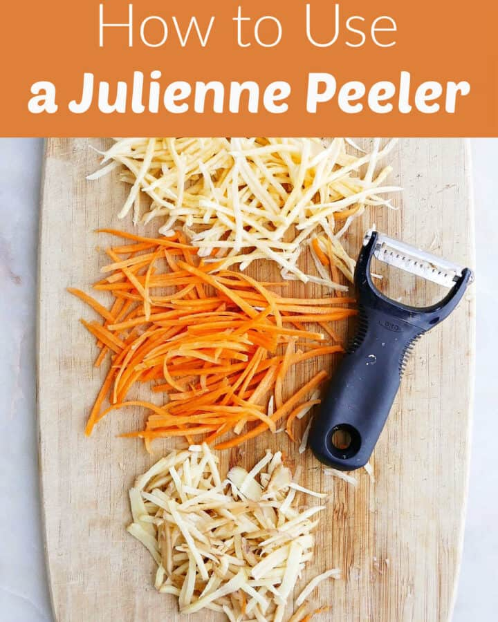 julienned veggies on a cutting board under a text box with post title