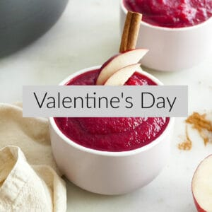 photo of pink applesauce with a text box with Valentine's Day in the middle