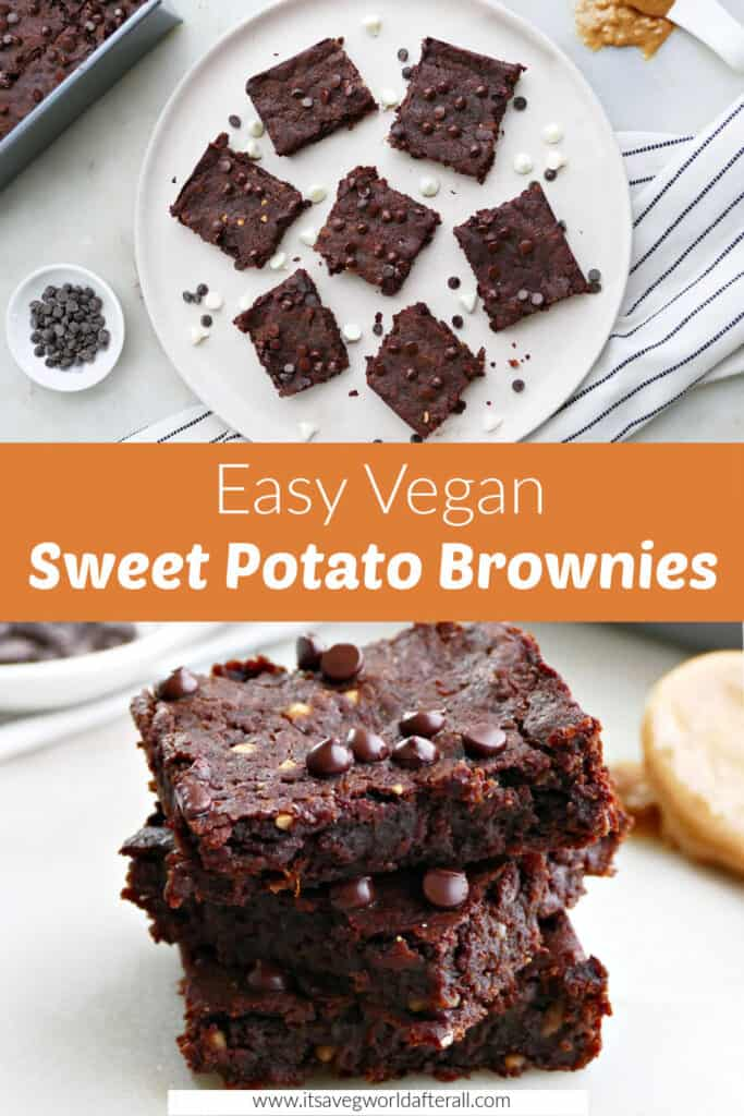images of sweet potato brownies separated by text box with recipe title