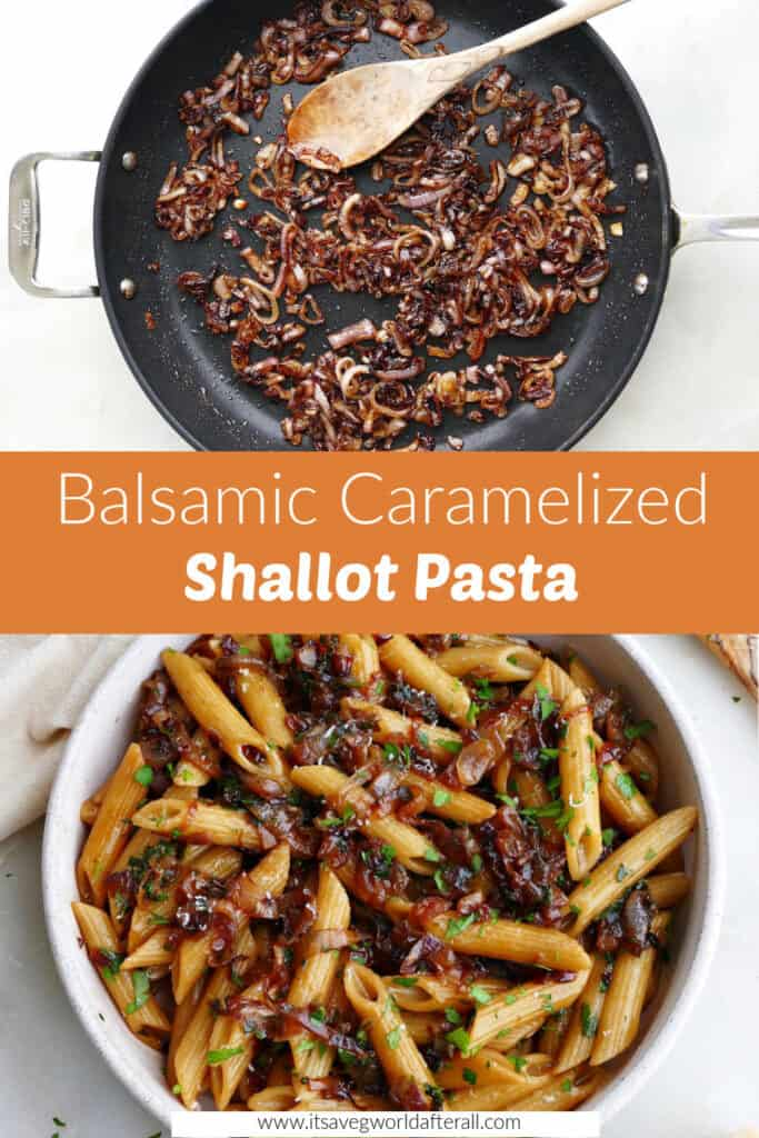 images of caramelized shallots and shallot pasta separated by text box with recipe title