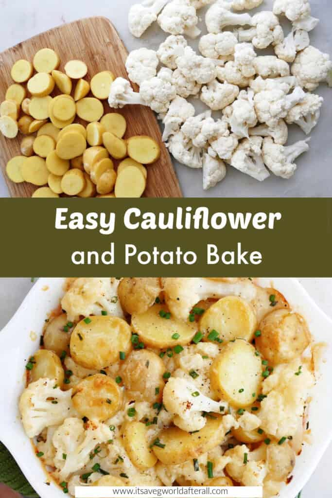 images of ingredients and completed cauliflower and potato bake separated by text box with recipe title