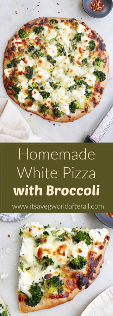images of white pizza with broccoli separated by text box with recipe title