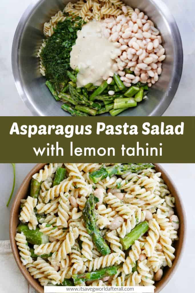 images of pasta salad ingredients and finished recipe separated by text box with recipe title