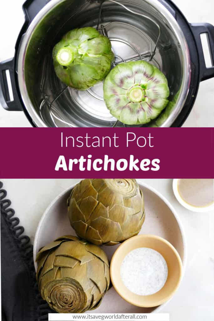 images of artichokes upside down in an instant pot and cooked artichokes in a dish separated by text box