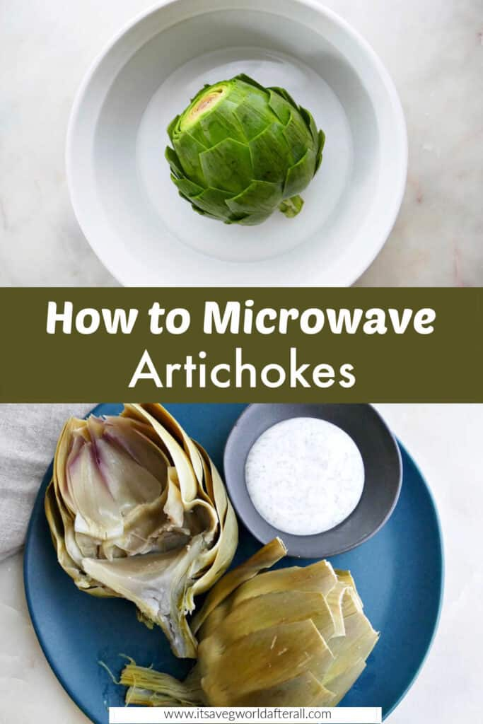 images of artichoke in a dish and cooked microwave artichoke separated by text box