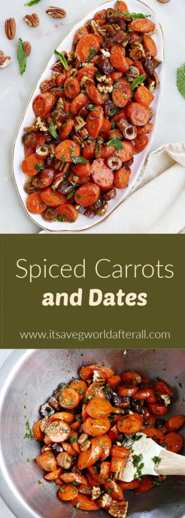 images of spiced carrots and dates separated by a text box with recipe title