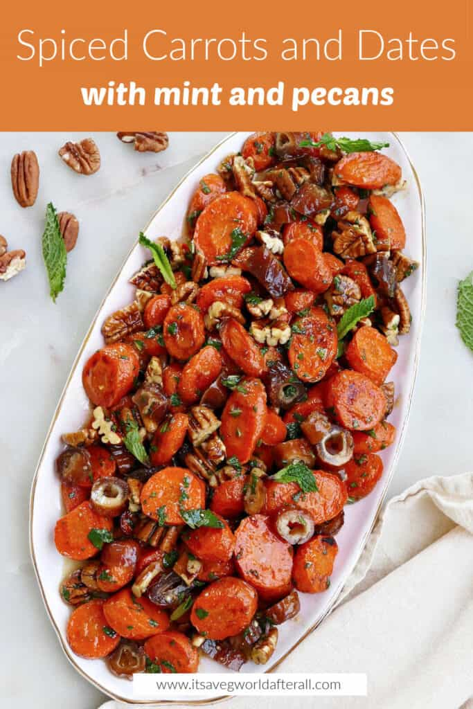 image of carrots and dates on a serving tray under orange text box with recipe title