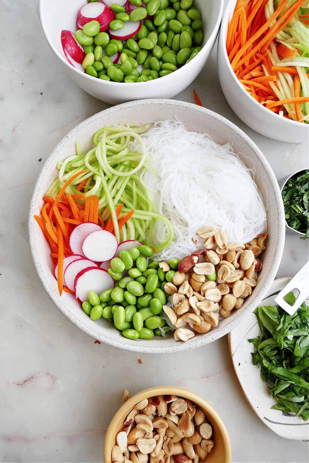 image of spring roll bowl ingredients before being mixed together