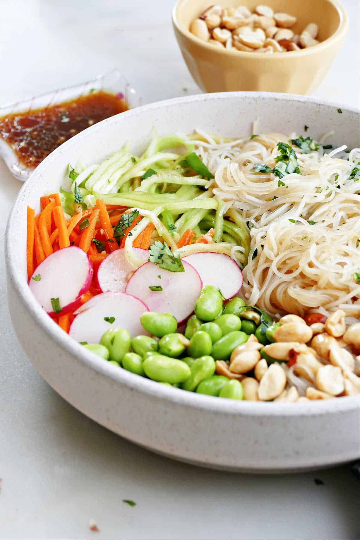 side image of a fresh spring roll bowl with toppings on a counter