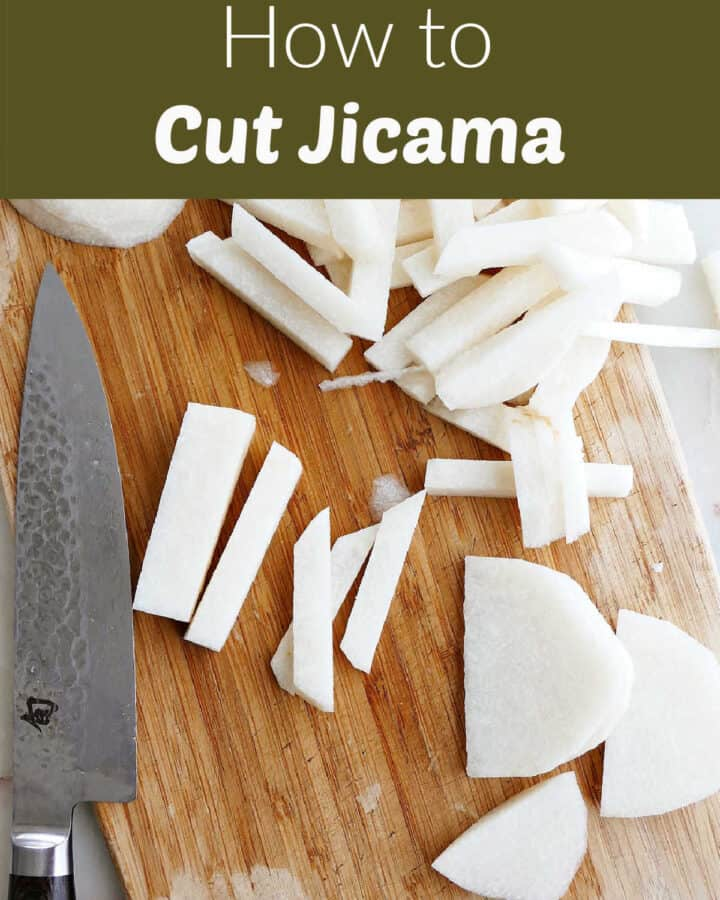 sliced jicama on a cutting board next to knife under text box with post title