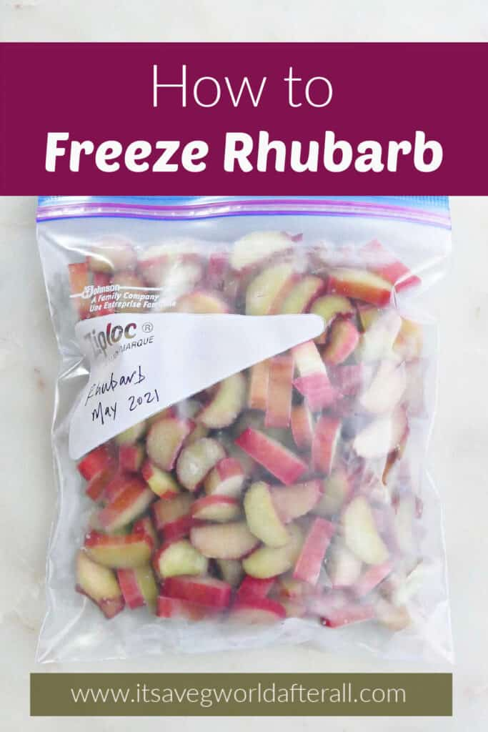 image of frozen rhubarb in a Ziploc bag on a counter under text box