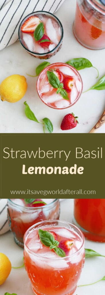 images of strawberry basil lemonade separated by text box with recipe name