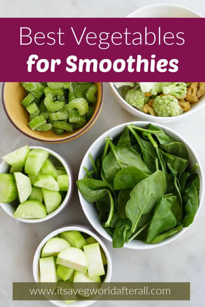 vegetables for smoothies in bowls on a counter under text boxes with post name and website
