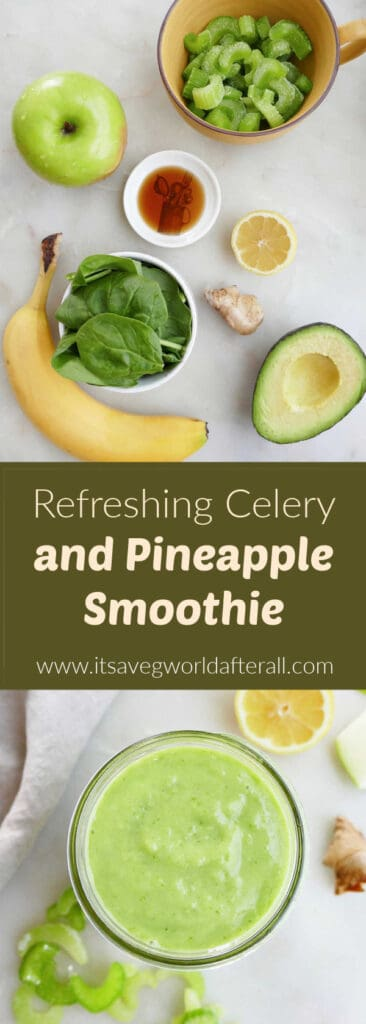 ingredients and finished celery smoothie separated by text box with recipe title