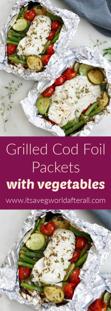 images of cod foil packets on a counter separated by text box with recipe name