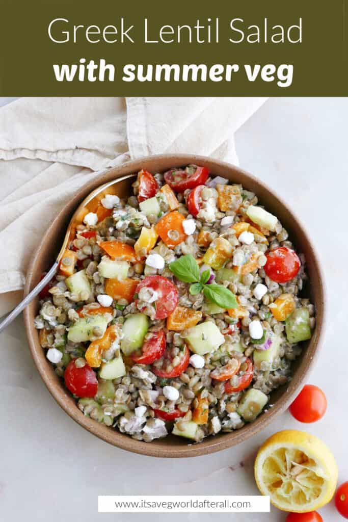 Greek lentil salad in a bowl on a counter under text box