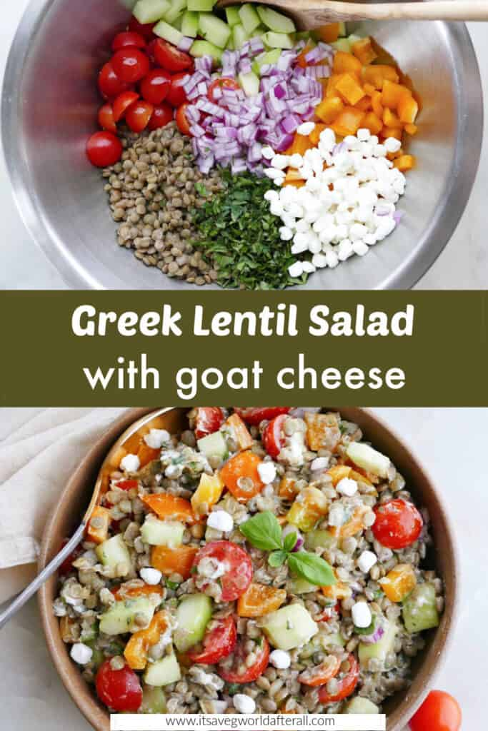 Greek lentil salad ingredients in a bowl and the finished salad separated by text box