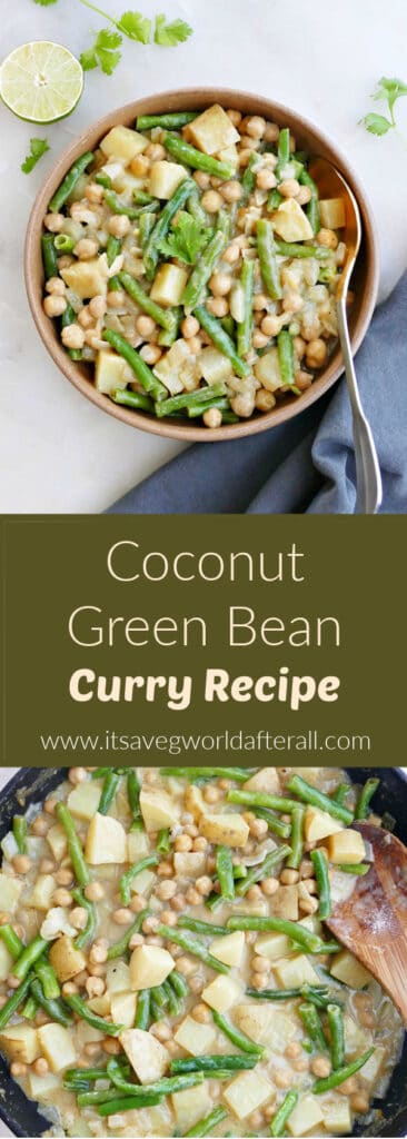 images of green bean curry separated by green text box with recipe and website name