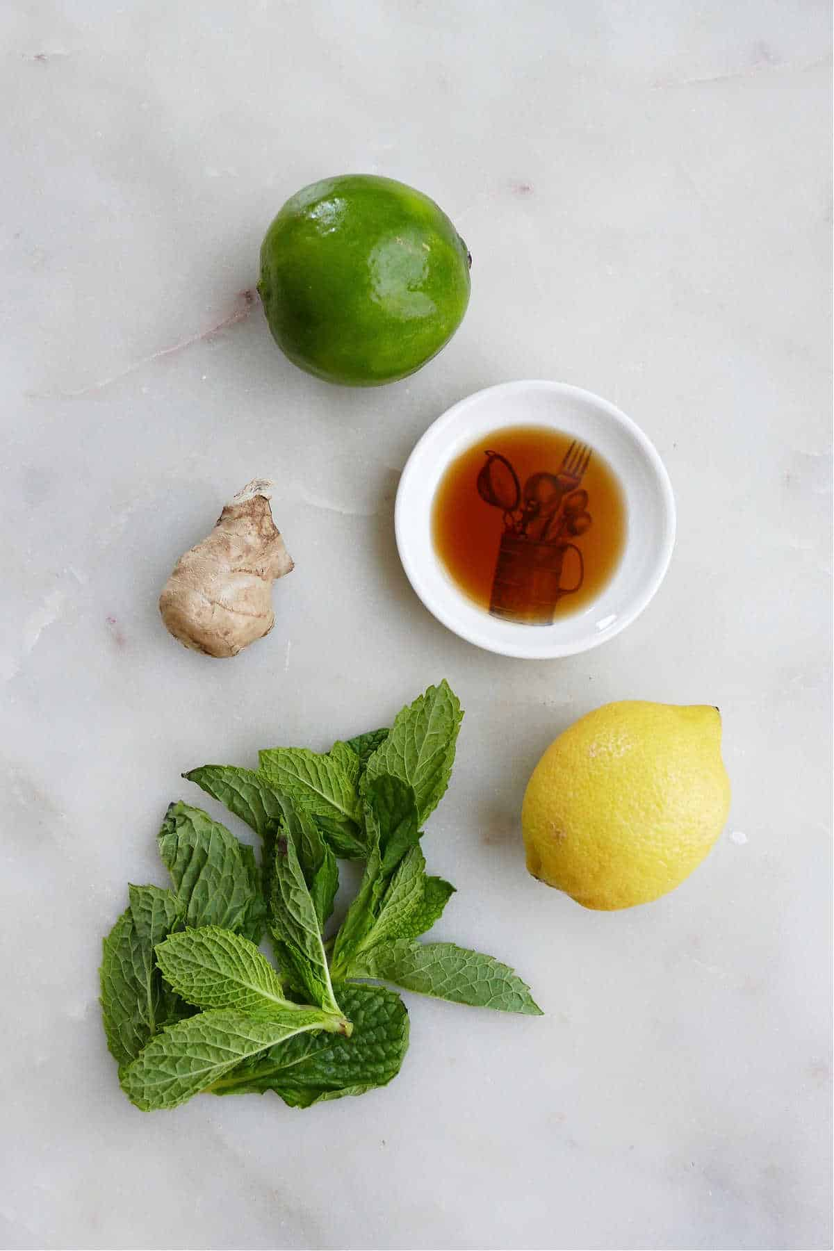 lime, lemon, vanilla, ginger, and mint leaves spread out on a counter