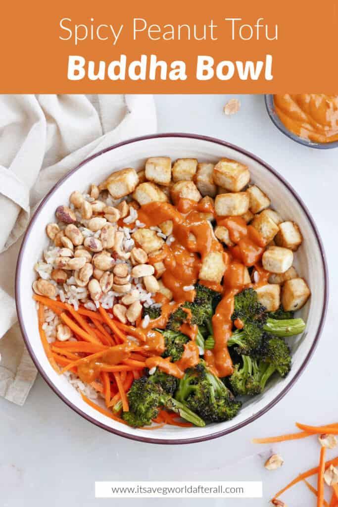 tofu peanut buddha bowl under a text box with recipe information