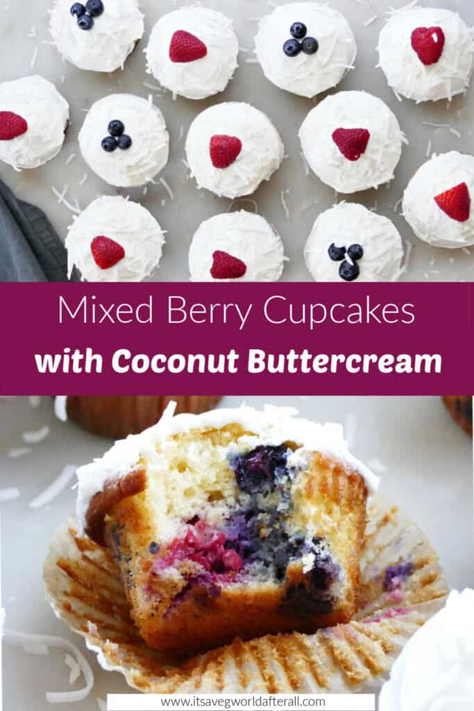 images of berry cupcakes spread out on a counter and one with a bite taken out separated by text box