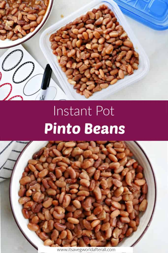 images of Instant Pot pinto beans separated by purple text box with recipe title