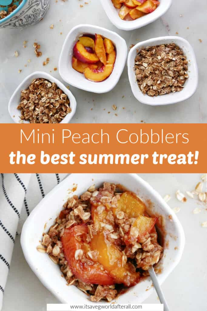 mini peach cobblers on a counter with a text box with recipe name