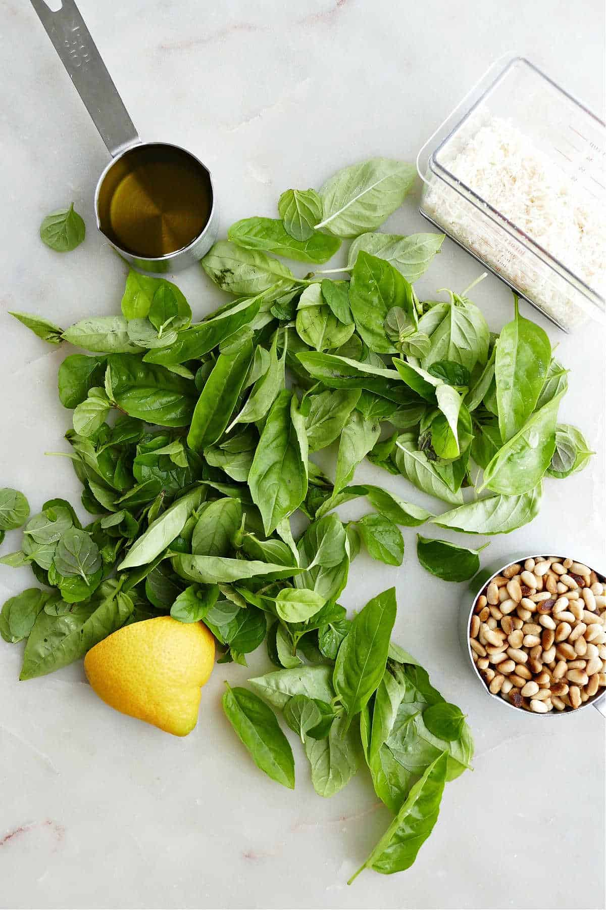 fresh herbs, olive oil, pine nuts, lemon, and parmesan cheese on a counter